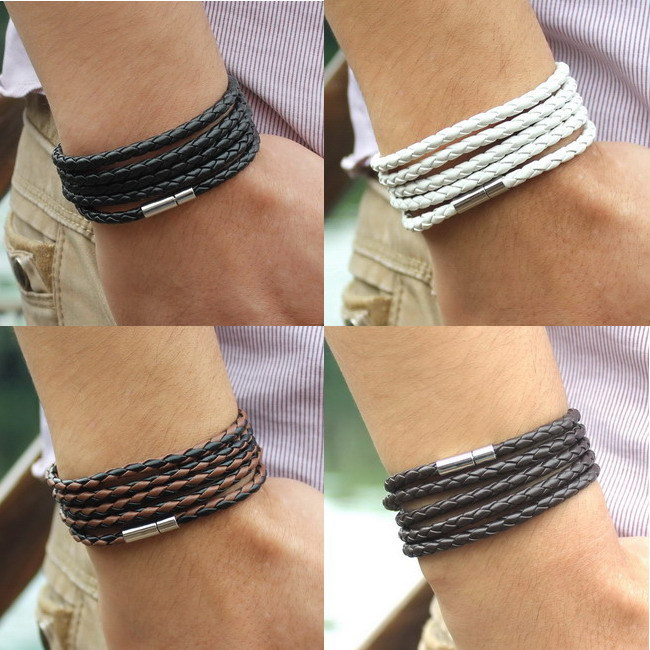 New Fashion 5 layer Leather Bracelets & charm Bangle Handmade Round Rope Turn Buckle Bracelet For Women Men Low Price Wholesale(China (Mainland))
