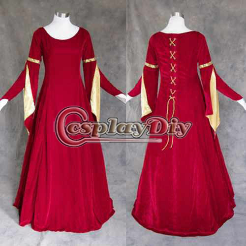Cheap custom made red medieval renaissance gown dress costume cosplay