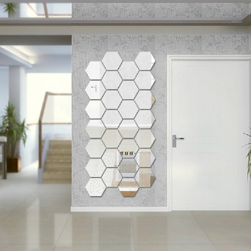 Modern Creative 3d Silver Mirror Geometric Hexagon Acrylic