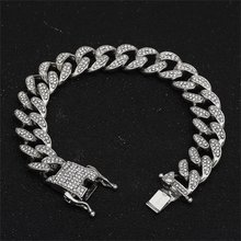 13mm Iced Out Cuban Necklace Chain Hip hop Jewelry Choker Gold Silver Rhinestone CZ Clasp for Mens Rapper Fashion Necklaces Link(China)