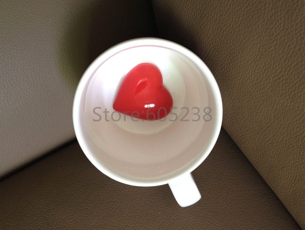 Free Shipping 1Piece Ceramic Sweet Heart Coffee Mug Heart in a Cup Valentine's Day Gift(China (Mainland))
