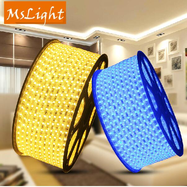 120V SMD5050 16.5 Feet White Yellow Blue120 Volt High Output LED SMD5050 Flexible Flat LED Strip Rope Light for kitchen Lighting(China (Mainland))