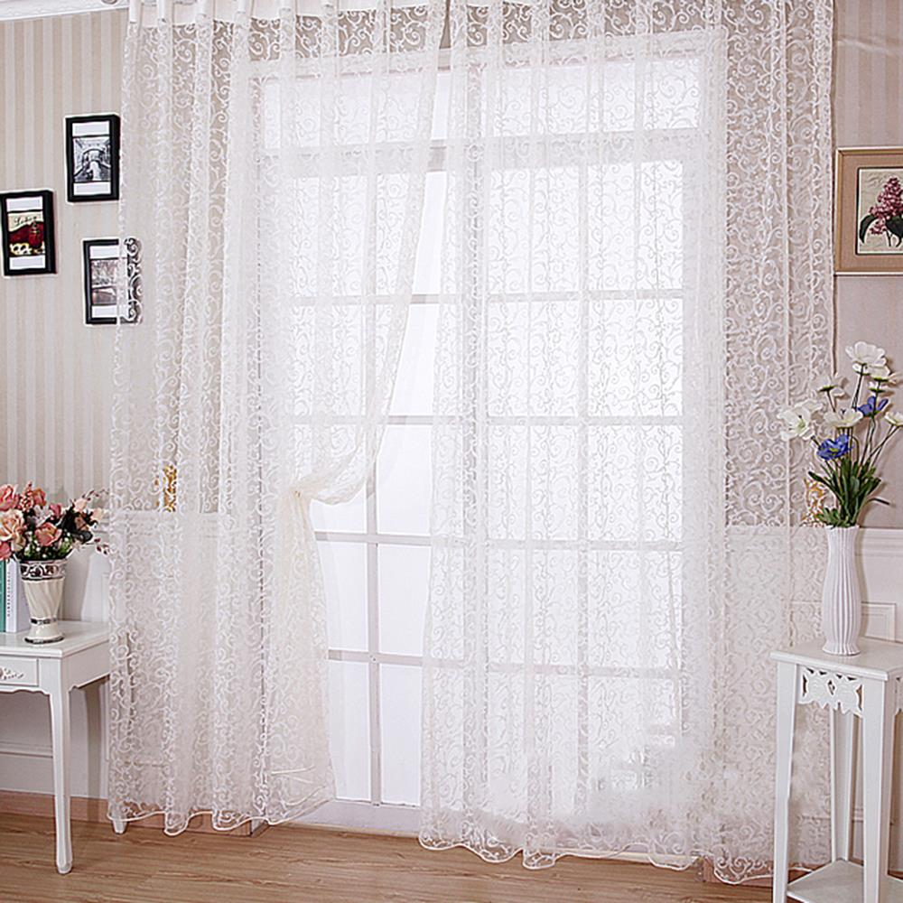 The Best Price For Elegant Floral Tulle Voile Door Window Curtain Drape Panel Sheer Scarf Valances(China (Mainland))
