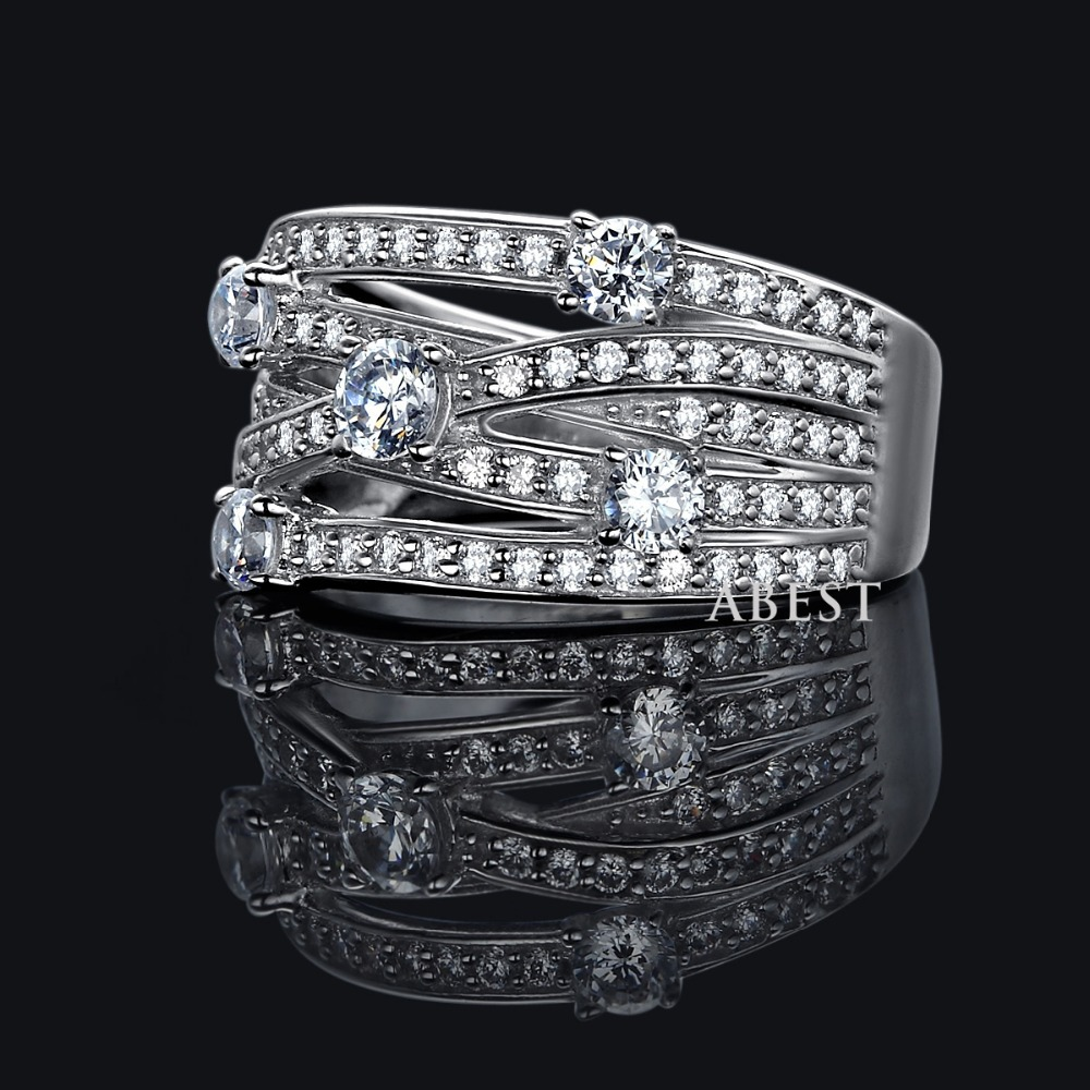 clear sona ring real 925 silver platinum plated