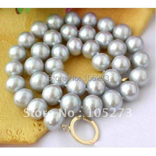 Huge 18inchs AA 10-11MM Gray Round Freshwater Cultured Pearl Necklace Fashion Womens Jewellery Wholesale Free Shipping FN2073<br><br>Aliexpress