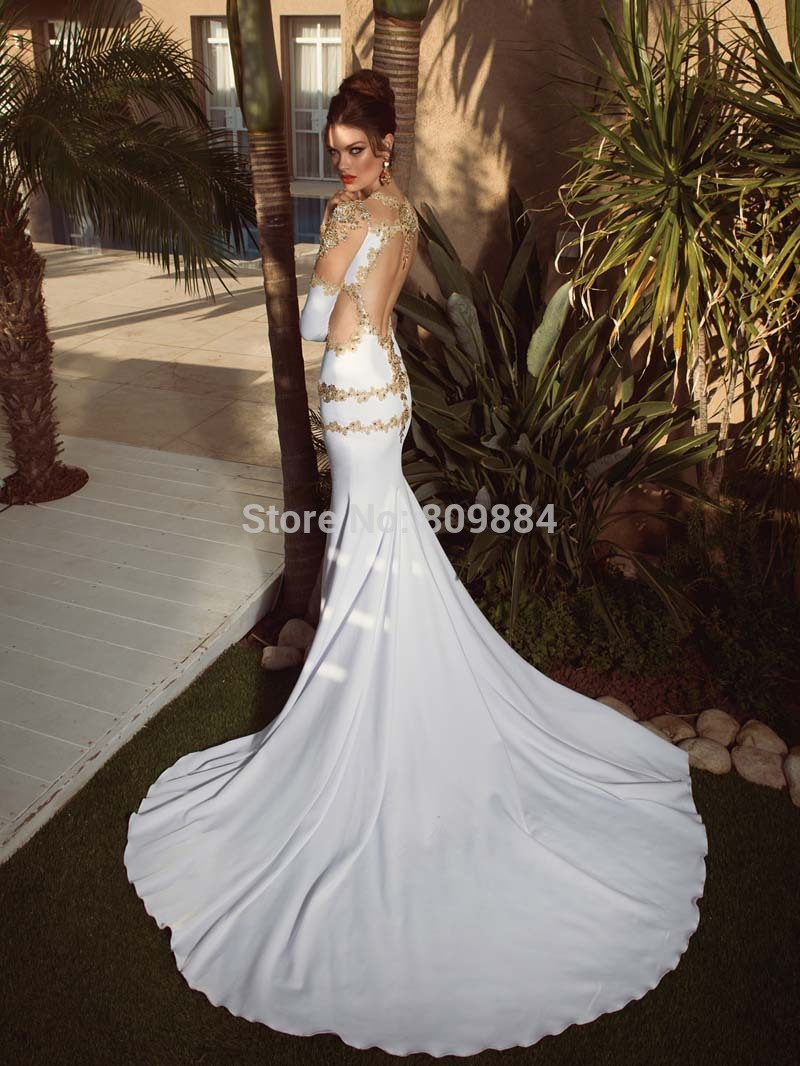 White And Gold Mermaid Wedding Dresses 103