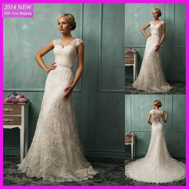 2014 Hot Sale Discount Wedding Dresses Elegant Mermaid Lace V Neck Cap Sleeve Chapel Train Bridal Gowns Custom-made WV-816(China (Mainland))