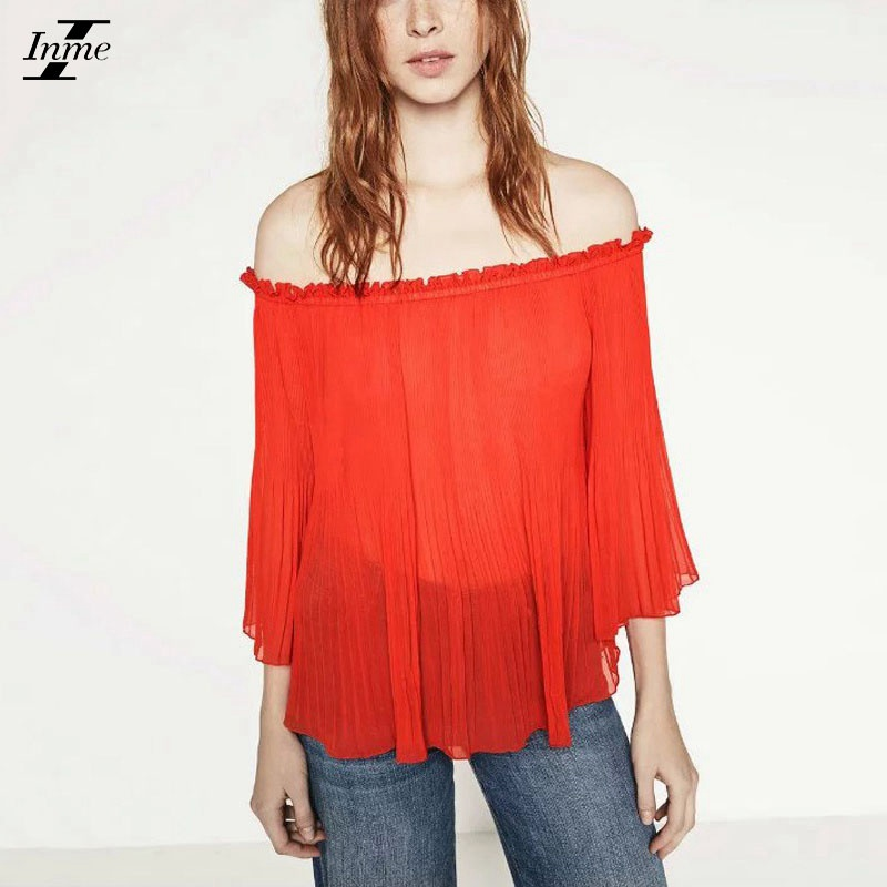 Inme New 2016 Women Summer Fashion Ruffles Sexy Slash Neck Pleated Tops Casual Off Shoulder Butterfly Sleeve Loose Blouse Shirts(China (Mainland))