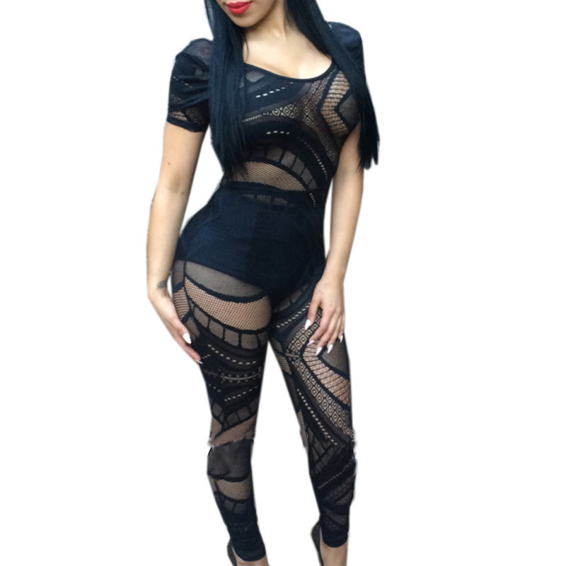 2015 women rompers summer style backless short sleeve sexy overall women hollow out knitted patchwork women jumpers and rompers(China (Mainland))