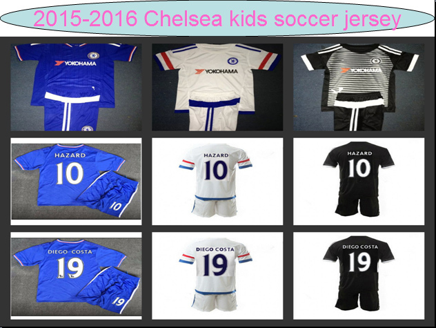 New Top Quality 15 16 DROGBA Children OSCAR Baby Boys DIEGO COSTA Youth Kits 15/16 Sets Jersey Chelsea Kids 2016 home Blue home(China (Mainland))