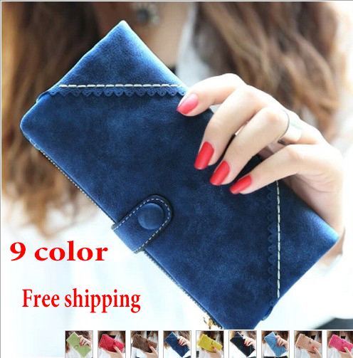 Гаджет  2014 new wave of retro fashion lace wrapped leather buckle solid matte Ms. long wallet wallet wallet None Камера и Сумки