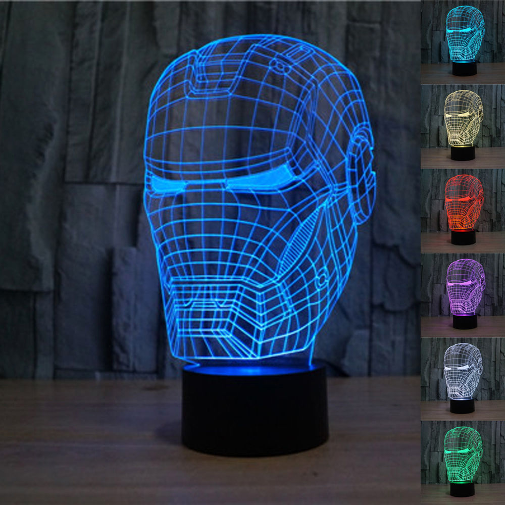Super Hero Marvel Avengers Toys Iron Man Mask Light up Toys Captain America 3D LED Lamp Best Child Gift Kids Toy(China (Mainland))