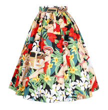 Summer Women Midi Pleated Skirts 2016 Vintage Flower Senoritas Printed Ball Gown High Waist Flared Knee Length Skirts Saias