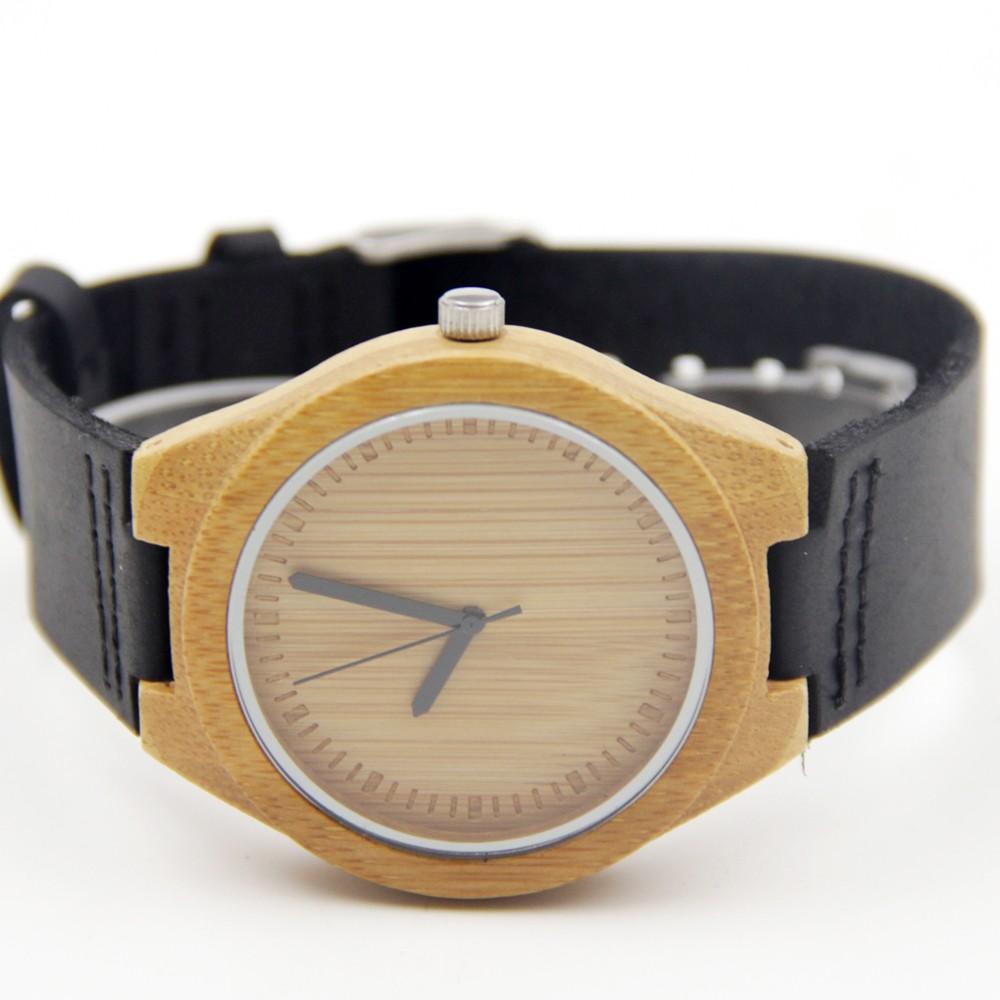 100% Натуральный Бамбук Деревянные Часы с Подлинной Коричневый Кожаный Ремешок Японский Кварцевый Повседневная Часы