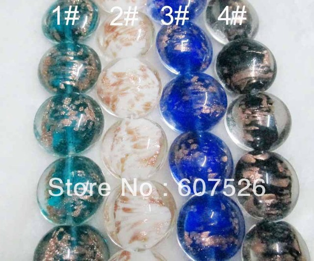 20mm 100Pc/Lot Wholesale DIY Mix color Lampwork Murano Gold dust glass beads loose Beads,Jewelry accessories free shipping HOT