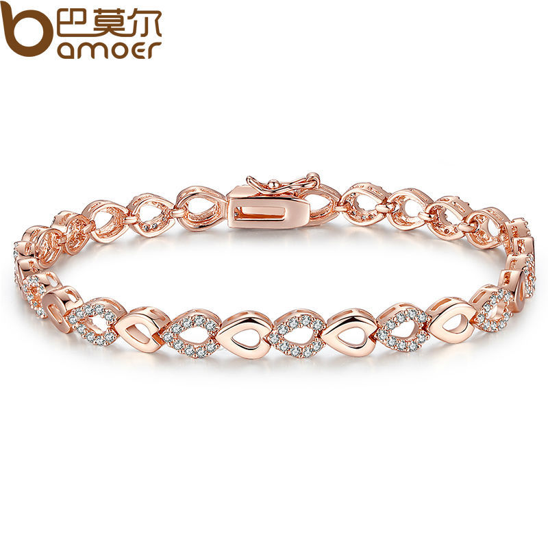 Bamoer Exquisite 18K Rose Gold Plated Heart Chain Bracelet for Women Shining AAA Cubic Zircon Crystal Jewelry JIB019<br><br>Aliexpress