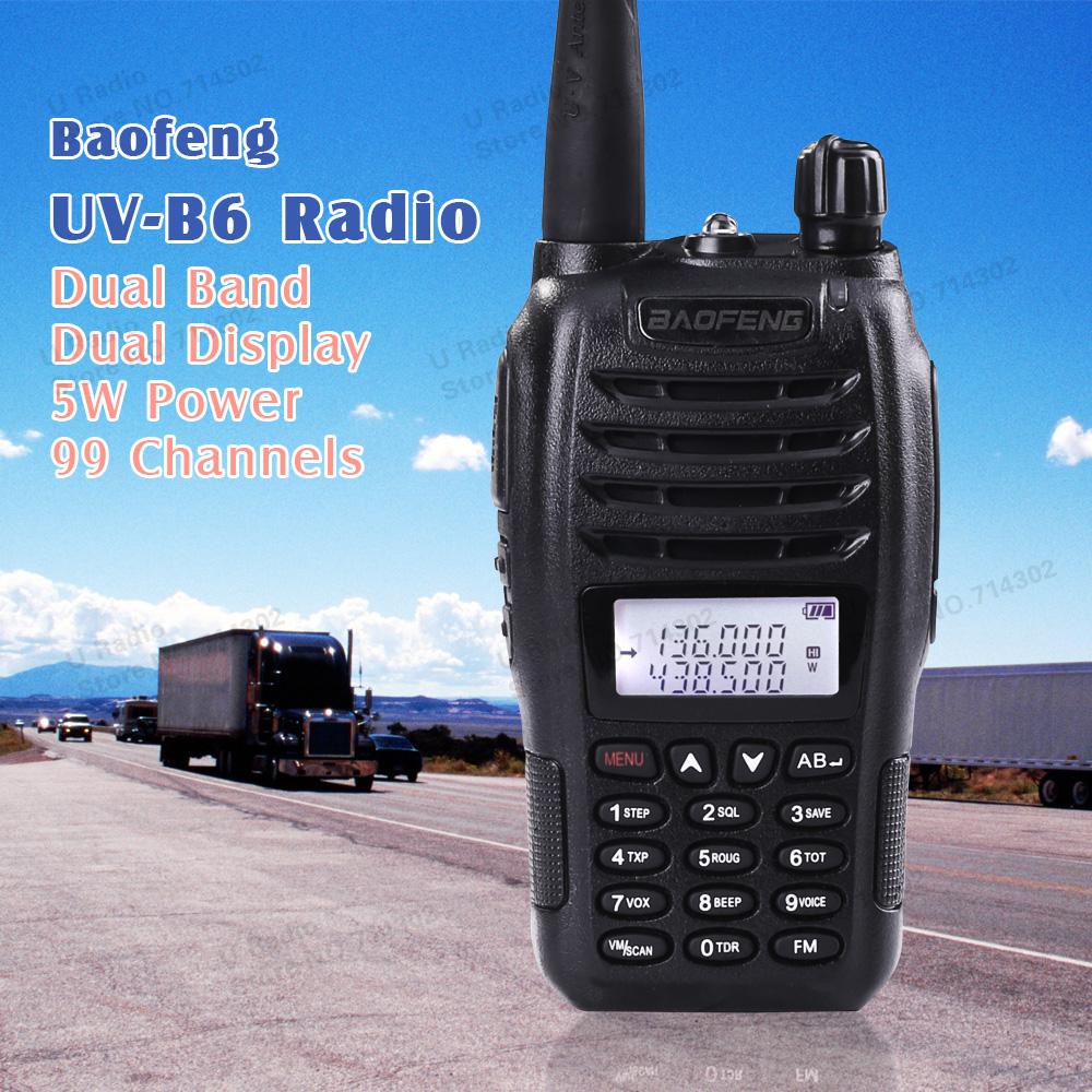 Hot ! BaoFeng UV-B6 UVB6 Walkie Talkie Transceiver Dual Band Two Way Radio 136-174Mhz&400-520Mhz Earphone Free 2pcs/lot shipping(China (Mainland))
