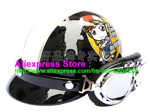 "P.06 New ABS Half Bol Vespa Cycling Half Face Motorcycle "" Motor Girl "" Black Helmet Visor & Silver Goggles SIZE M , L , XL(China (Mainland))"