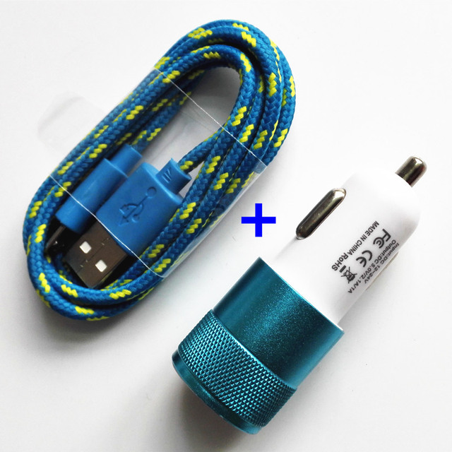 Nylon Braided Micro USB Cable +12V 2.1A Dual USB Car charger Adapter for Samsung xiaomi redmi/for iphone 5s 6s ipad mini