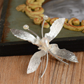 2pc lot Gold Butterfly Hair Clip Wedding Hair Accessories Bridal Headpiece Clips Ornaments Pearl Jewelry Pince