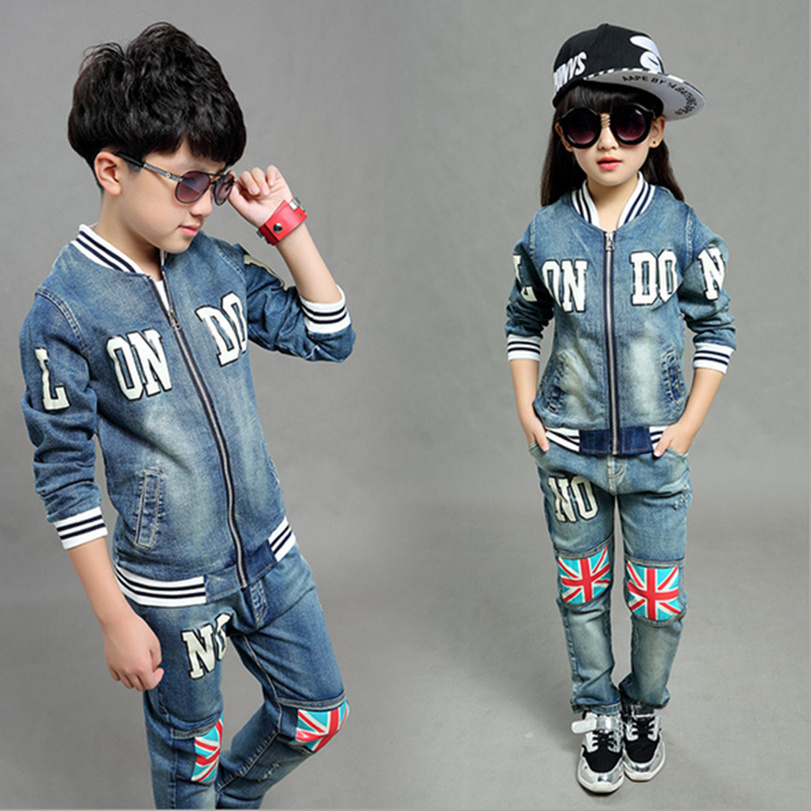 2015 New Big Boys Girls Childrens Clothing Sets ( Coats + Pants ) Zipper Denim Jackets &amp; Elastic Waist Jeans Kids Fashion Suit<br><br>Aliexpress