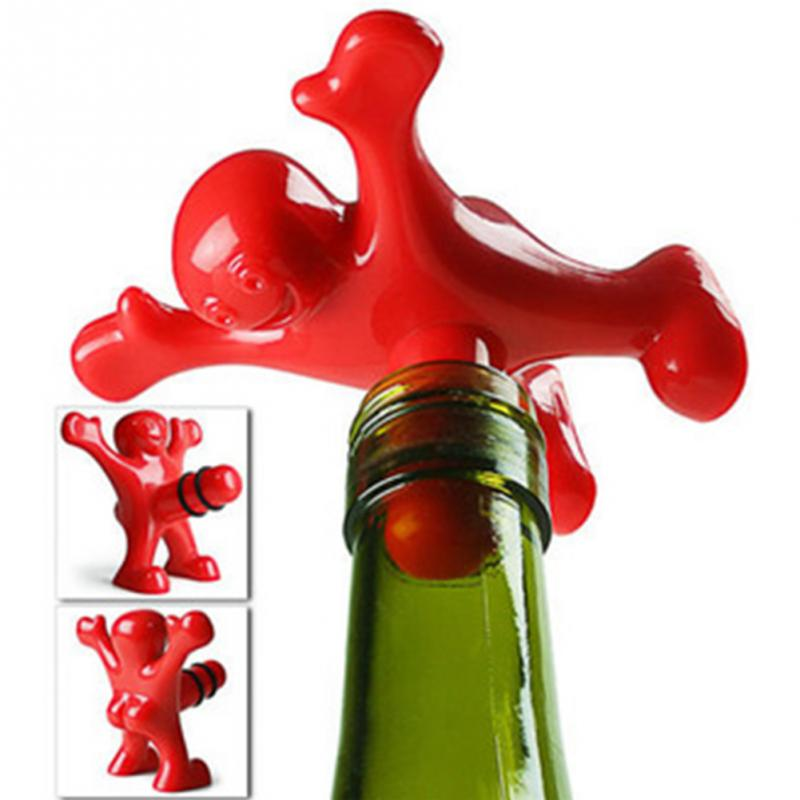 New Kitchen Bar Red Fun Happy Man Wine Beer Soda Bottle Plug,Multifunction Novelty Bottle Stopper Great Gift(China (Mainland))
