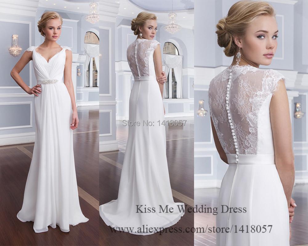New design pure white beach wedding dress 2015 summer lace for Pure white wedding dress