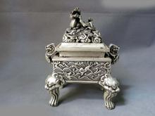"8"" China silver feng shui lucky dragon Foo Dog Lion incense burner censer Statue(China (Mainland))"