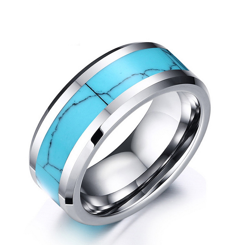 Unique Turquoise tungsten Carbide men ring 8mm Very cool bague homme Size 7 8 9 10 11 12 High quality men jewelry best gift(China (Mainland))