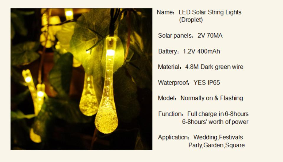 VNL Outdoor Solar Led String light 5M 20 Led droplet solar panel strip light IP65 Waterproof Garden square decoration