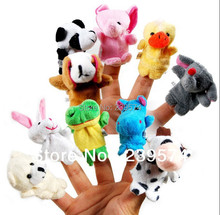 10 pcs/lot, Baby Plush Toy/ Finger Puppets/Tell Story Props(10 animal group) Animal Doll /Kids Toys /Children Gift(China (Mainland))