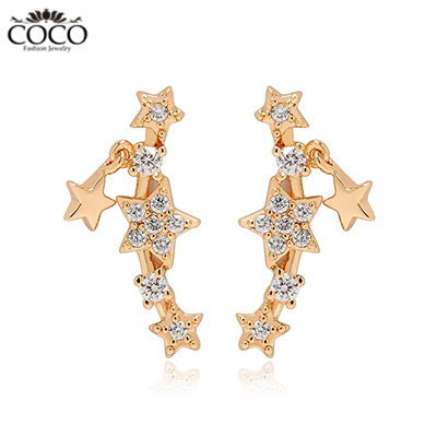 Golden Star Stud Earrings Rose Gold Plated Evening Party Earring For Women Fashion Wedding & Activities Accessories 2015 New(China (Mainland))