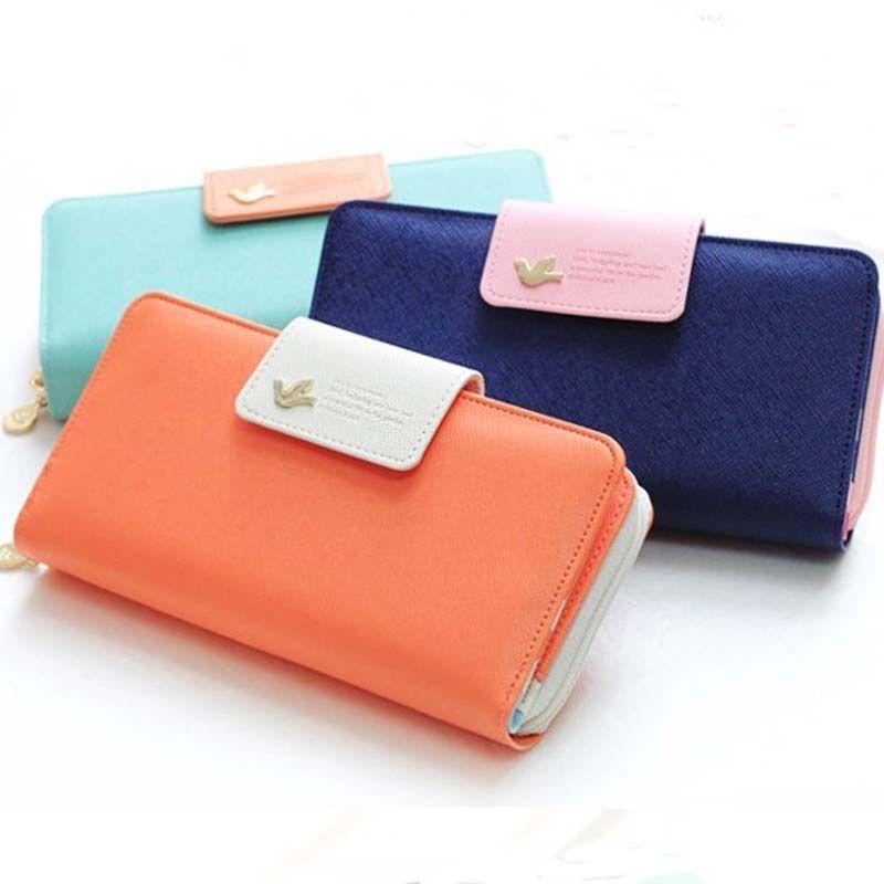 1 x мода женщины кожаные красочный клатч чехол леди длинное сумочка почтовый кнопка бумажник 4 цветов