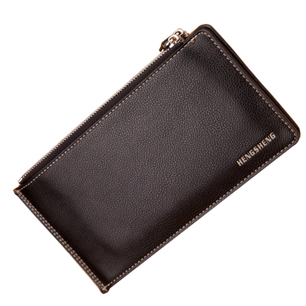 2016 Famous Brand Genuine PU Leather Men Double Zipper Long Wallet, 17 Card Slot Clutch Wallet Handbag Purse With Coin Pocket(China (Mainland))