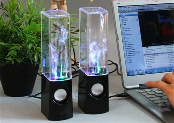 fountain water column mobile computer speakers,3.5-channel sound colorful lights fountain, music player, 5.1*6.3*22cm(China (Mainland))