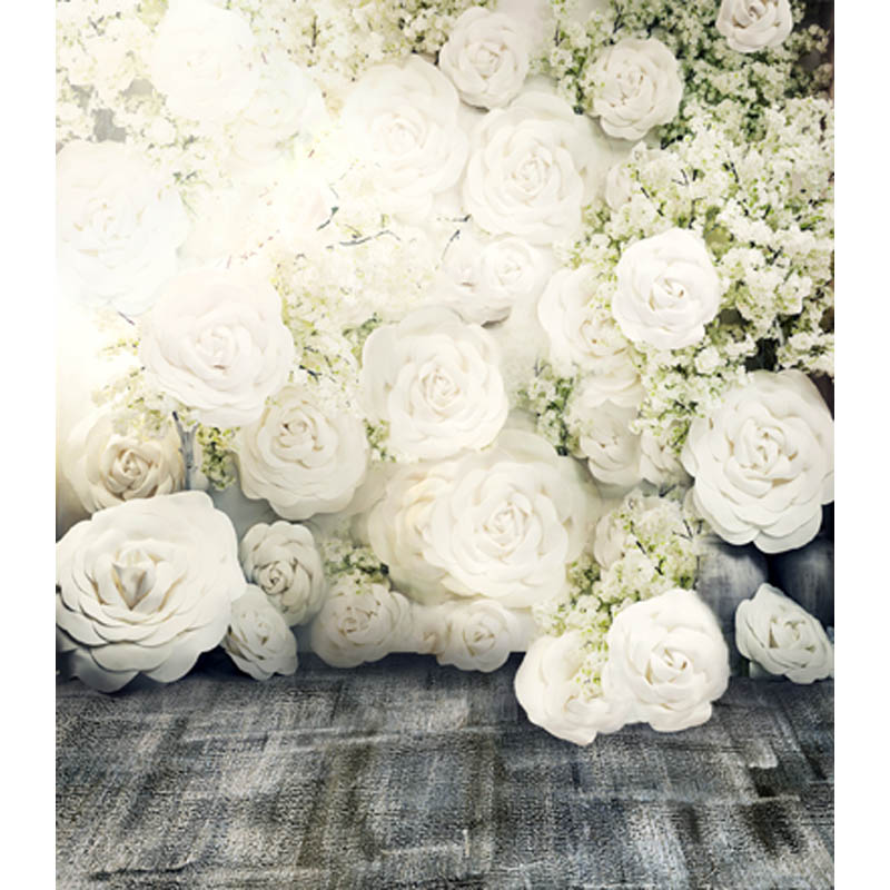 wedding Thin fabric computer Printed photography background White roses photo backdrop for Studio 5X7ft CM-6908(China (Mainland))