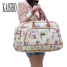 2016 Women Waterproof Travel Bag Summer Style PU Leather Women Sport Bag Travel Duffel Bag New Tower Beauty Lady Print Luggage(China (Mainland))