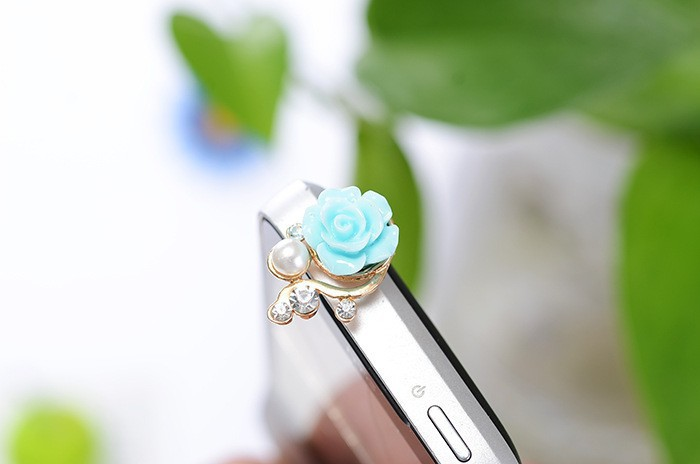 Luxury Romantic Pearl Rose Dust Plug Mobile Phone Dust Plug Sweet Girls Phone Pendants 3.5mm Universal For Mobile Phone /iphone