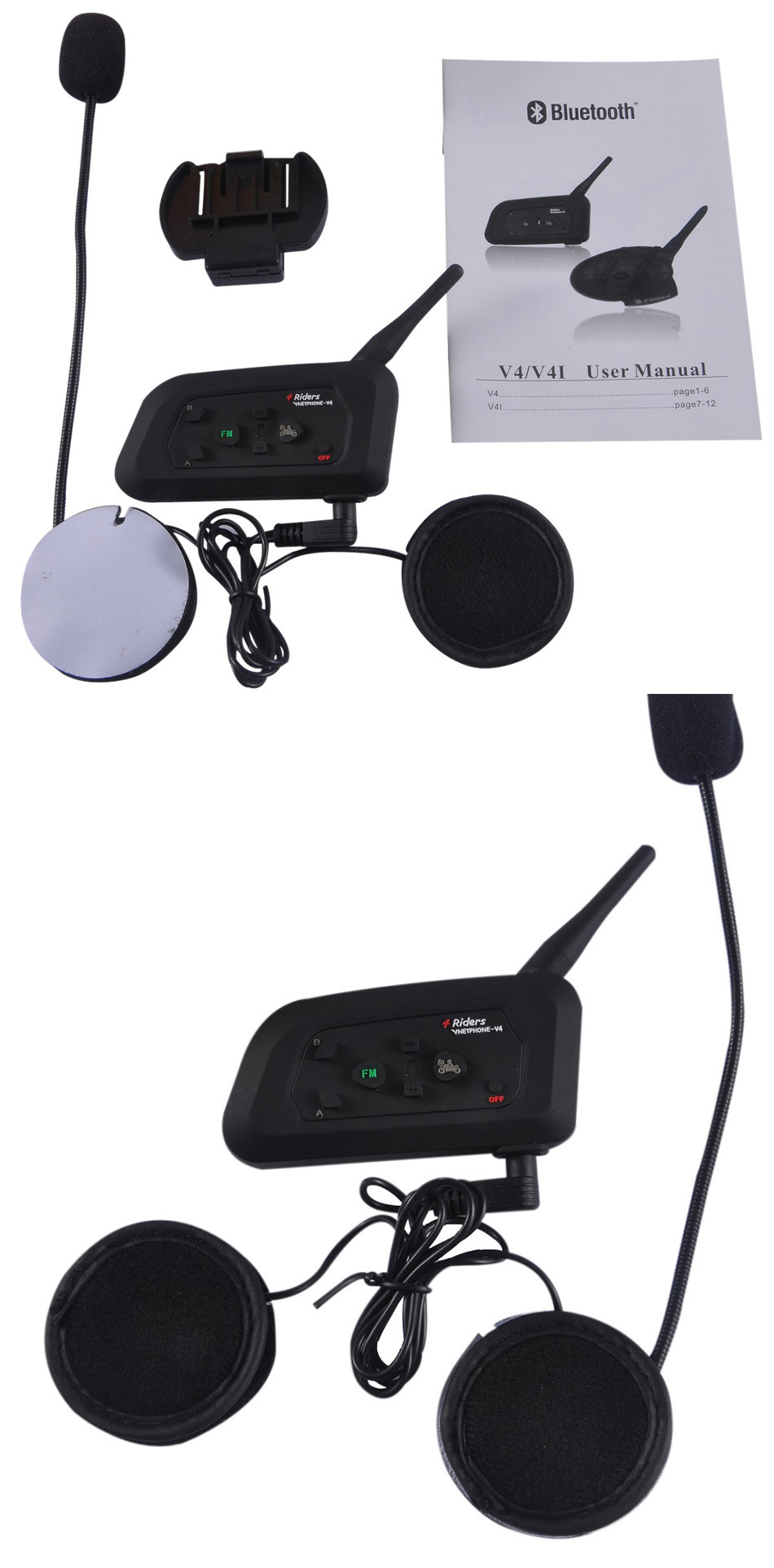 Vnetphone V4 1200M Motorcycle Helmet BT Intercom Bluetooth Headset 4 Riders Bikers Skiers FM Waterproof Interphone Ear Headphone