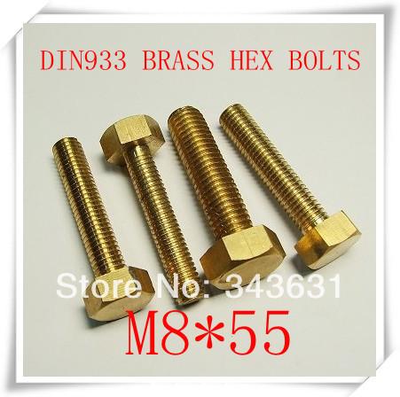 10pcs/lot High Quality DIN933  M8*55 Brass Hex Bolts<br><br>Aliexpress