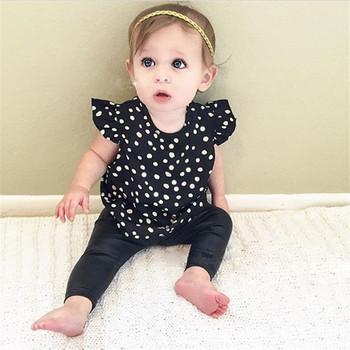 NEW 2016 Baby Girls Clothes Cotton Unisex Fashion Black Polka Dot Short Summer Baby Kids Girls Infant T-shirt