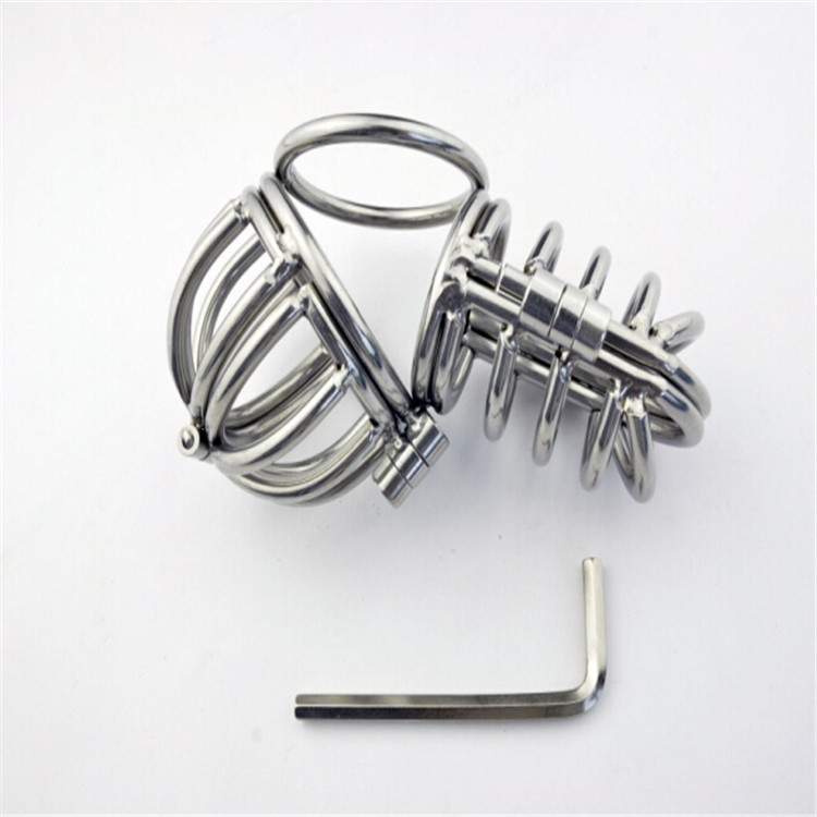 New!Stainless Steel Male Chastity Device,Chastity Belt,Cock Cage,Virginity Lock,Penis Ring,Penis Lock,Adult Game,Cock Ring A069