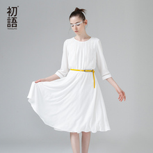 Buy Toyouth New Arrival Dress 2017 Summer Women Pleated Solid O-Neck Half Sleeve A-Line Lady Casual Knee-Length Dresses for $32.48 in AliExpress store