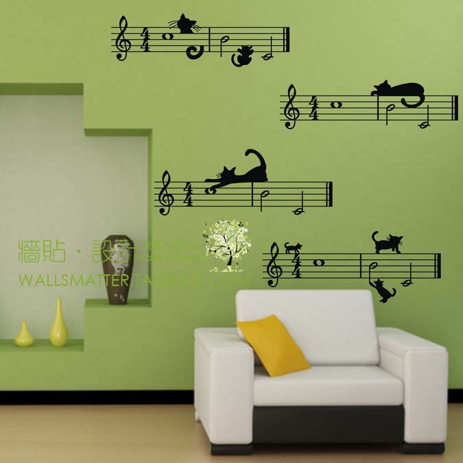 large size free shipping Cute cartoon cat and Staff note combination Musical Wall Stickers,music bedroom decor(China (Mainland))