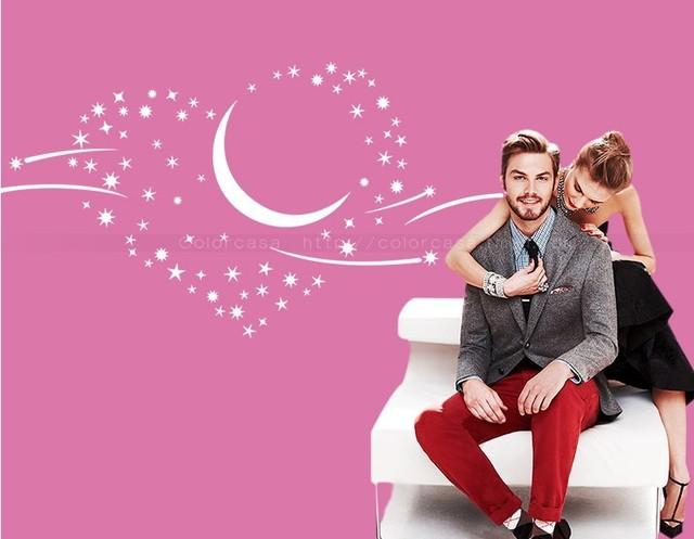 Романтическая любовь метеор спальня тв наклейки луна и звезды плакат дома настенной росписи декор свадьбы украшения ZY8220