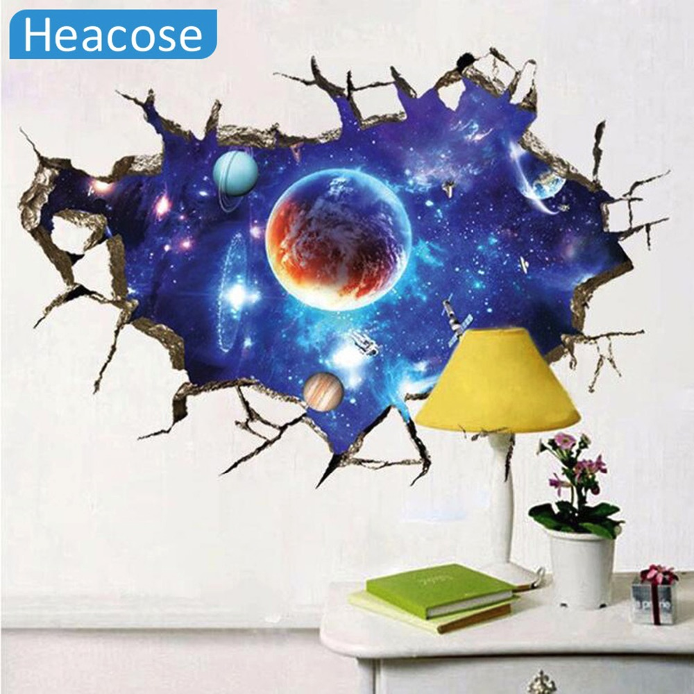 3D Outer Space Planet Wall Stickers for kids room Beautiful Galaxy Stickers muraux Decor Living Rooms vinilos paredes poster(China (Mainland))