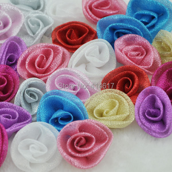 100 pcs Mesh Ribbon Metallic Glitter Rose Wedding Party Sewing Appliques Crafts A080(China (Mainland))