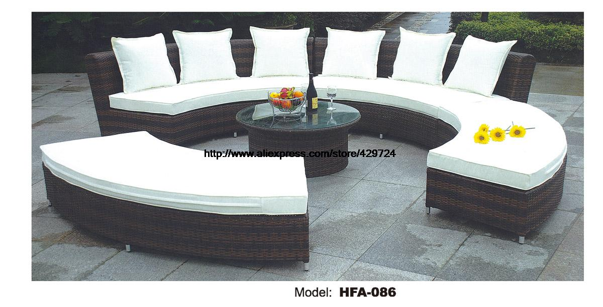 Circular arc sofa half round furniture healthy pe rattan for Luxury garden furniture