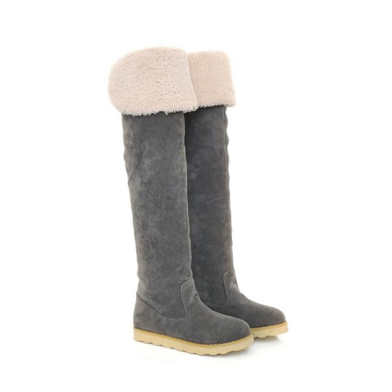 ซื้อ จัดส่งฟรี2016แฟชั่นใหม่ของผู้หญิงฤดูหนาวหิมะรอบนิ้วเท้ายาวกว่าเข่ารองเท้าออกแบบรองเท้าหญิงSBT1063