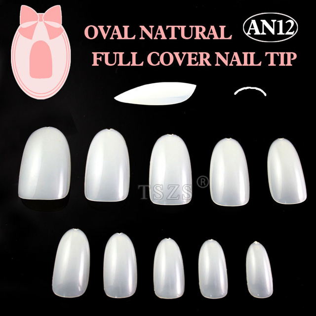 1bags/ lot -600pcs in a bag Oval Natural nail art tips full cover acrylic nails